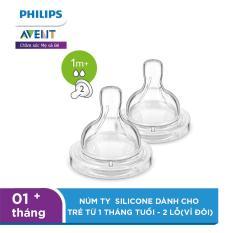 Núm ty Philips Avent Silicone dành cho trẻ từ 1 tháng tuổi – 2 lỗ(vỉ đôi) SCF632/27