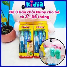 Set 3 bàn chải mềm đánh răng cho trẻ sơ sinh Nuby 7000754 – Kidia