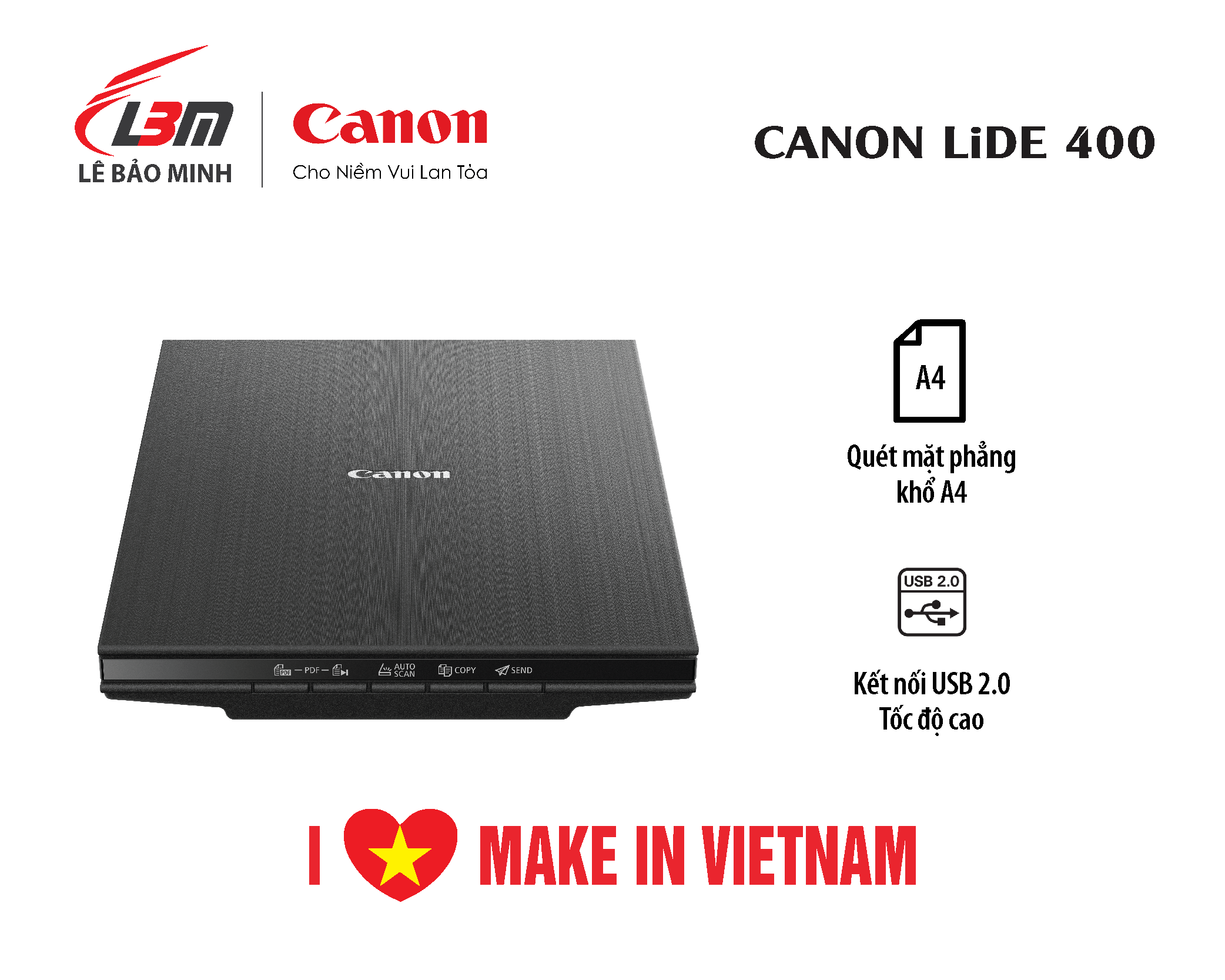 [voucher 9%]Máy quét mặt kính phẳng nhỏ gọn với khả năng đặt thẳng đứng Canon LIDE 400