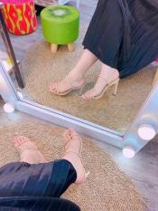 Giày Cao Gót Nữ 8p Quay Mảnh tròn