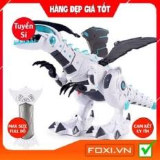 Robot đồ chơi khủng long phun khói-lửa điện-Sử dụng pin-Có đèn-Có nhạc-Biết tự xoay đầu khi gặp vật cản-Hàng chính hãng