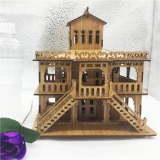 Đồ chơi lắp ráp gỗ 3D Mô hình Biệt Thự Châu Âu – Tặng kèm đèn LED trang trí dài 2m 20 bóng