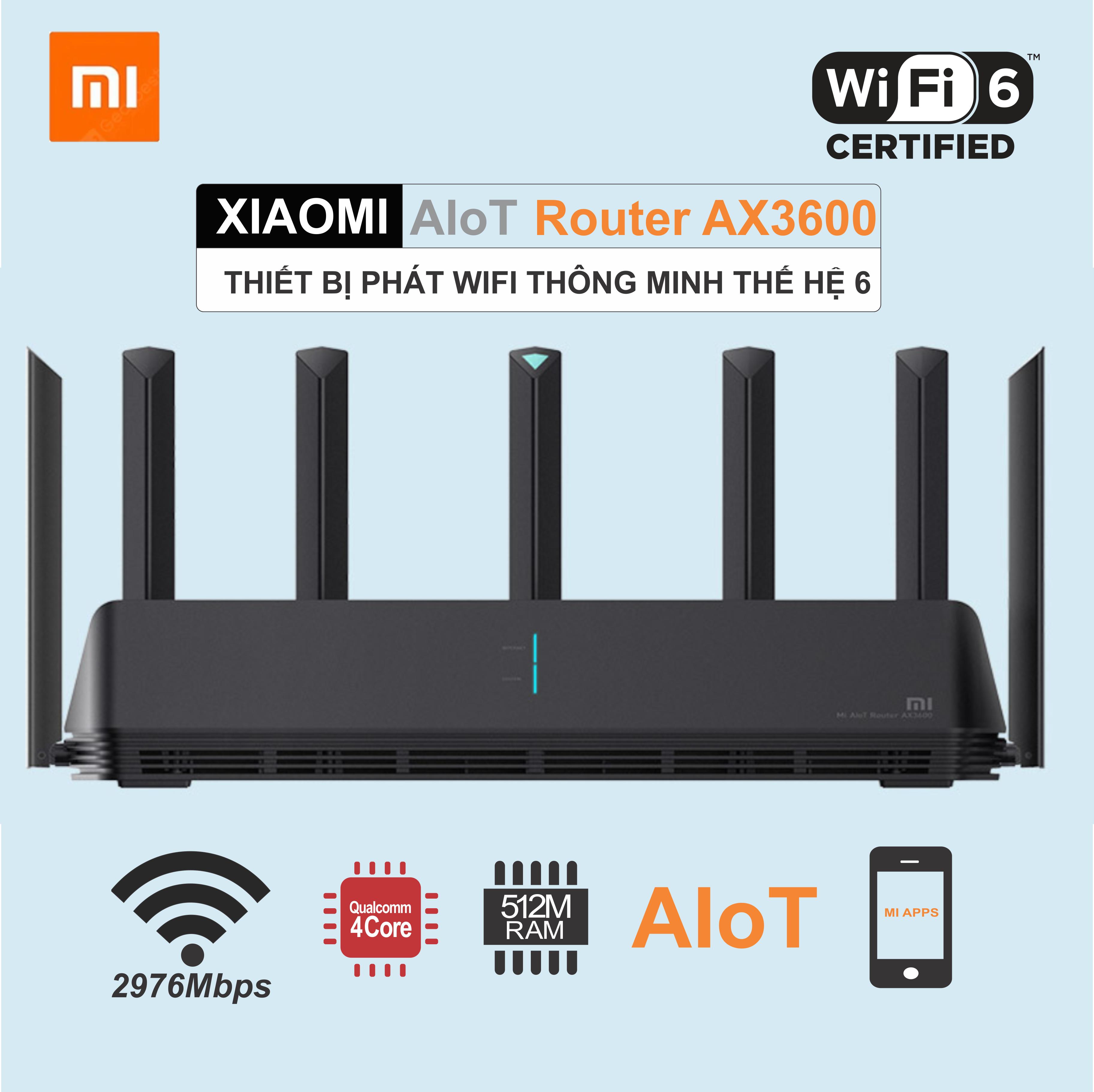 [Xã Kho Giá Shock] Xiaomi AIoT AX3600 Phát Wifi 6 Thông Minh-Băng Thông 2976M – Giải Pháp Nhà Rộng, Gaming, Công Suất Lớn 200Users