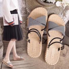Dép sandal quai kép đế cói siêu đẹp kèm clip