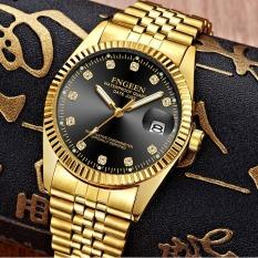 Đồng hồ nam FNGEEN F70088 lịch ngày sang trọng mặt số đính đá đẳng cấp doanh nhân dây hợp kim mạ vàng không gỉ HLEI M356F (Mặt đen or mặt vàng)