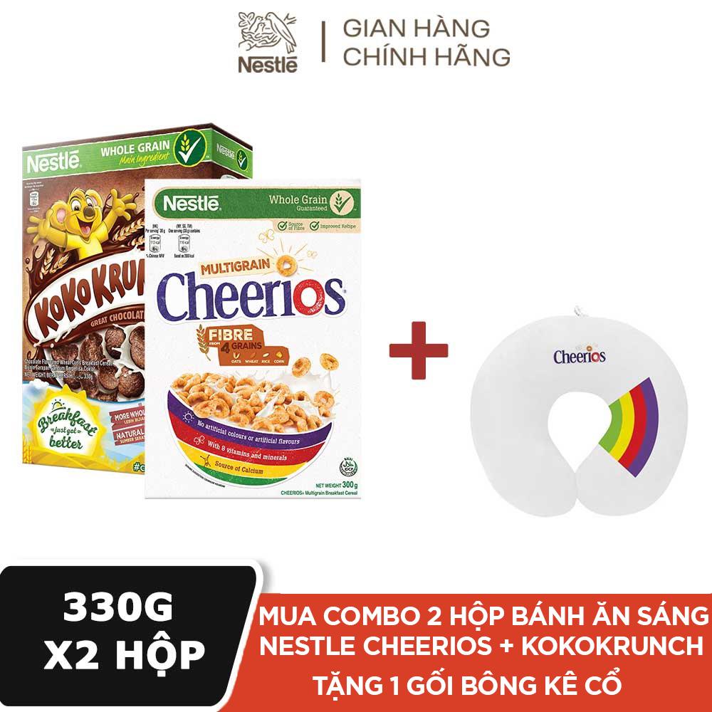 [Tặng 1 Gối bông kê cổ] Combo 1 Hộp ngũ cốc ăn sáng NESTLE Cheerios – Hộp 300g + 1 Hộp Ngũ Cốc Ăn Sáng Nestlé Koko Krunch – Hộp 330g