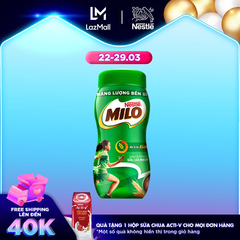 Thức uống lúa mạch Nestlé Milo nguyên chất 400g (hũ nhựa)