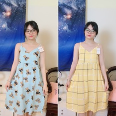 Đồ ngủ nữ váy 2 dây dễ thương dáng xòe rộng thoải mái từ 50-65kg