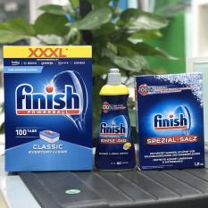 Combo Viên rửa bát Finish 100 viên + Muối Finish 1.2kg + Nước làm bóng Finish 400ml + Tặng que thử nước cứng
