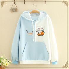 Áo khoác hoodie nữ phối màu siêu lạ in hình thỏ con ôm cà rốt siêu xinh , chất nỉ bông dày dặn