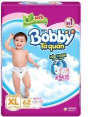 Tã quần Bobby size XL gói siêu lớn 62 miếng (12-17 kg) (hương trà xanh)