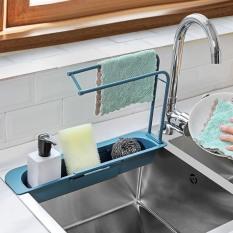 Kệ nhựa dài CO DÃN để bồn đựng đồ rửa chén, không có khay treo khăn lau tay nhà bếp mẫu mới – giao màu ngẫu nhiên