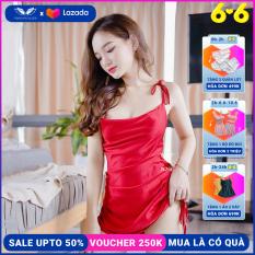 Đầm nữ váy hai dây cổ đổ váy ngủ lụa pháp thiết kế rút dây hai bên hông Vingo N260 VNGO