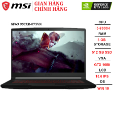 Laptop MSI GF63 Thin 9SCXR-075VN i5-9300H | 8GB | 512GB | VGA GTX 1650 4GB | 15.6″ FHD | Win 10