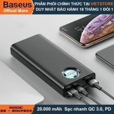 Pin dự phòng thương hiệu Baseus (BS-20KP203) (đen)cao cấp dung lượng 20000mAh công nghệ sạc nhanh cổng PD 3.0 sạc 2 chiều và Qualcomm QC 3.0 thiết kế đẹp độc đáo có màn hình LCD báo dung lượng Pin – Phân phối bởi Vietstore