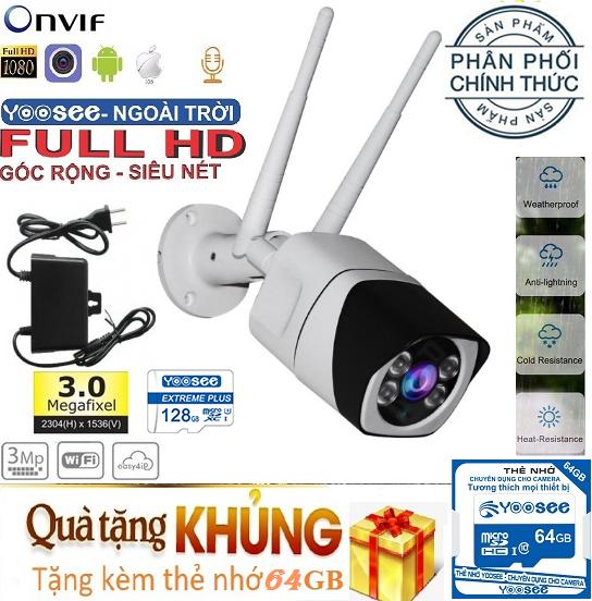 (KÈM THẺ CHUYÊN DỤNG LÊN TỚI 64GB,TRỊ GIÁ 399K) Camera Wifi trong nhà – ngoài trời YOOSEE S10, 3.0 Mpx – 1920 x 1080P,camera WIFI KHÔNG DÂY Full HD XEM ĐÊM CÓ MÀU, chống nước tuyệt đối