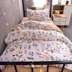 Bộ chăn ga gối cotton hoa nhí SP000801 LIDACO, vải cotton mềm mại thoáng mát không xù lông bai màu, bộ ga gối kèm vỏ chăn
