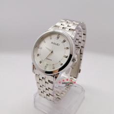 Đồng hồ nam HALEI dây kim loại thời thượng ( HL502 dây trắng mặt trắng ) – TẶNG 1 vòng tỳ hưu phong thuỷ