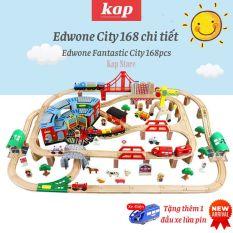 Bộ đường ray xe lửa gỗ thành phố Edwone 168 chi tiết, có kèm xe điện