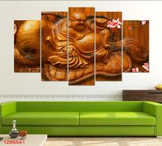 Khung tranh gỗ treo tường phòng khách Phật Di Lặc 3D / Gỗ MDF cao cấp / Chống ẩm mốc-