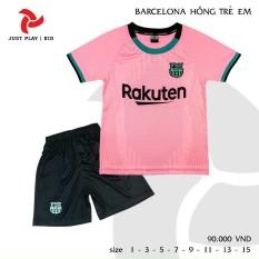 Bộ quần áo đá banh Barcelona hồng cho bé trai và bé gái