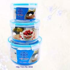 Bộ 3 hộp nhựa đựng thực phẩm có nắp gài chắc chắn, Hộp đựng thực phẩm để tủ lạnh
