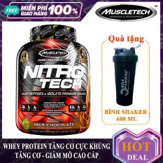 [Lấy mã giảm thêm 30%] [TẶNG BÌNH LẮC] Sữa tăng cơ cao cấp Whey Protein Nitro Tech của MuscleTech hộp 1.8kg hỗ trợ tăng cơ giảm mỡ tăng sức bền sức mạnh vượt trội cho người tập gym và chơi thể thao