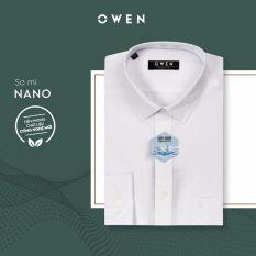 Áo sơ mi dài tay nam Owen – AR90779D1 màu trắng vải Nano Dáng regular fit có túi ngực