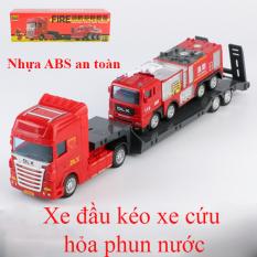 Xe mô hình đồ chơi xe đầu kéo chở xe cứu hỏa chở nước (gồm 2 xe) nhựa ABS an toàn, kích thước lớn