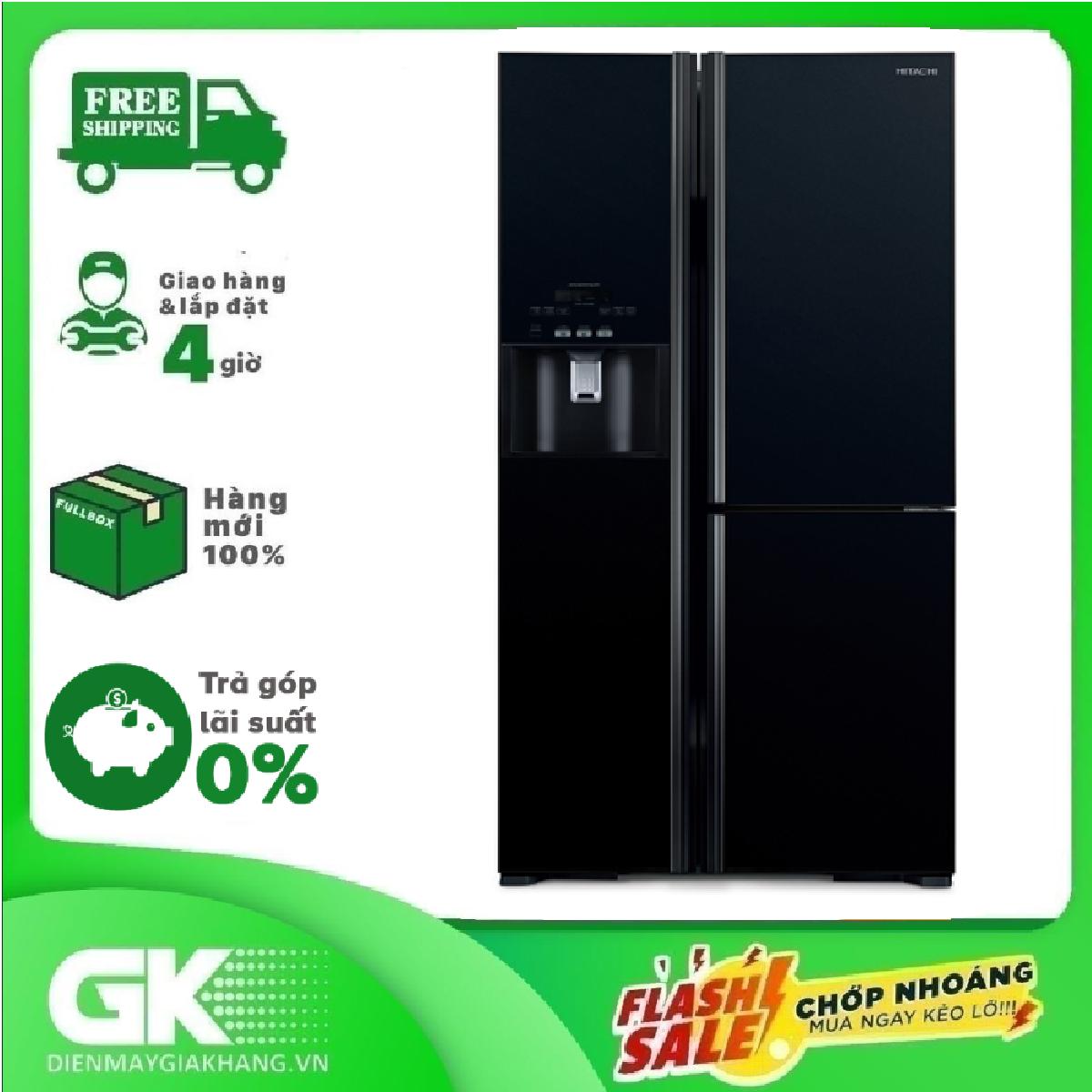 TRẢ GÓP 0% – Tủ lạnh Hitachi Inverter 584 lít R-FM800GPGV2 GBK,cảm biến nhiệt Eco tiết kiệm điện, mặt gương sang trọng, có hộc lấy đá nước bên ngoài – Bảo hành 12 tháng