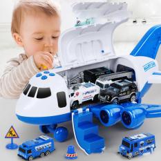 Bộ đồ chơi trẻ em mô hình máy bay chứa 4 xe ô tô cảnh sát, 1 máy bay trực thăng, biển báo chạy pin kèm nhạc và phát sáng (máy bay mô hình)