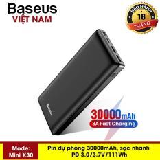 [VOUCHER HOT 50K] Pin sạc dự phòng Baseus X30 – Q PD Fast Charge 30000 mAh cho Smartphone/ Tablet/ Macbook (15W, Power Delivery , USB + Type C PD in/out) ( Đen) – Phân phối bởi Baseus Vietnam