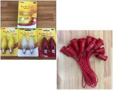 Combo 2 bóng led trái ớt OKAS + 2 đui E12 (chọn màu)
