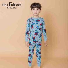 Đồ bộ mặc nhà bé trai Unifriend thun dài họa tiết siêu nhân U8FWTD03