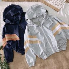 áo khoác form rộng nữ tay phối 3 sọc D445