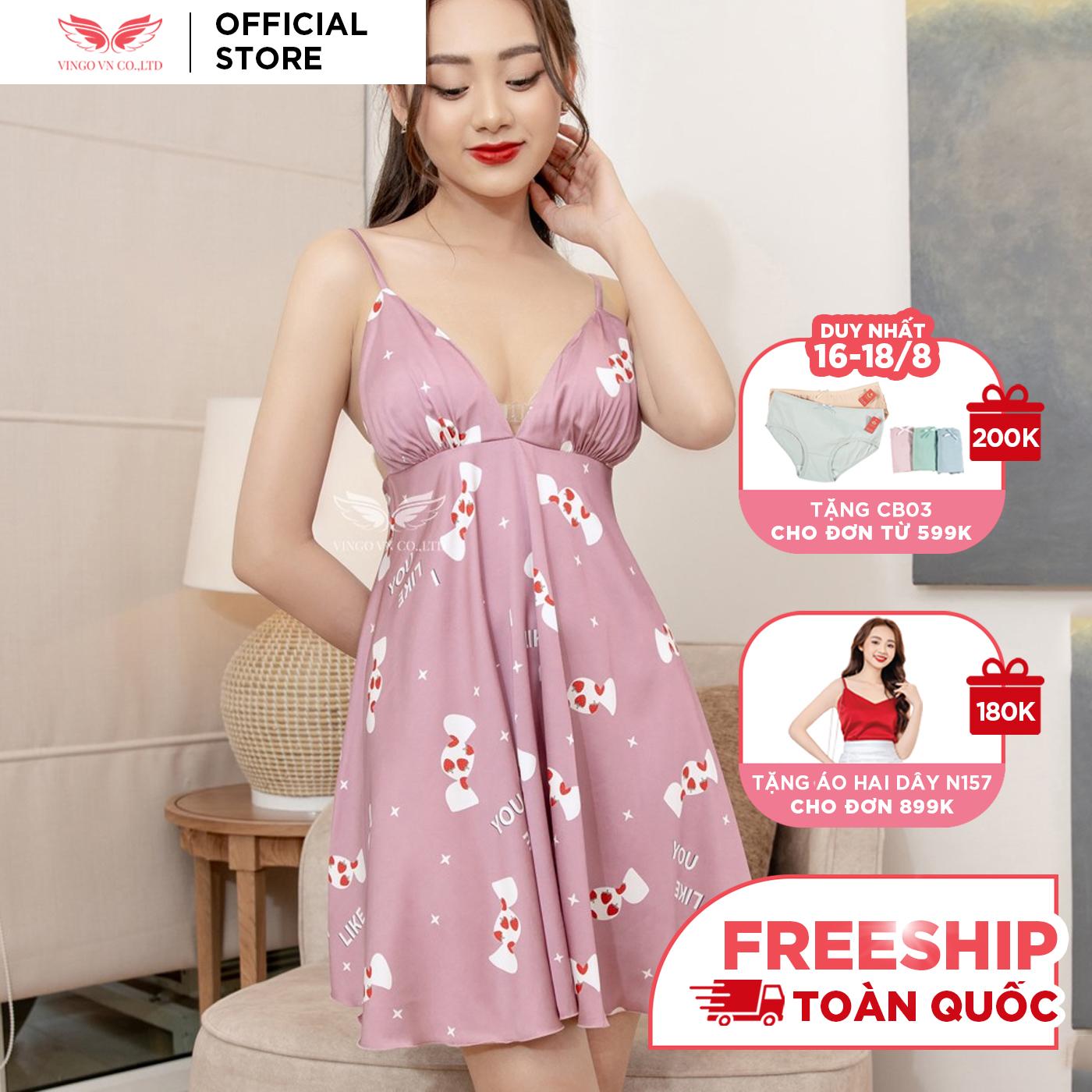 Váy đầm ngủ sexy nữ 2 dây Lụa Pháp cổ V tặng mút ngực rời KHÔNG kèm quần trong nhiều họa tiết Hàng thiết kế Vingo VNGO VG113