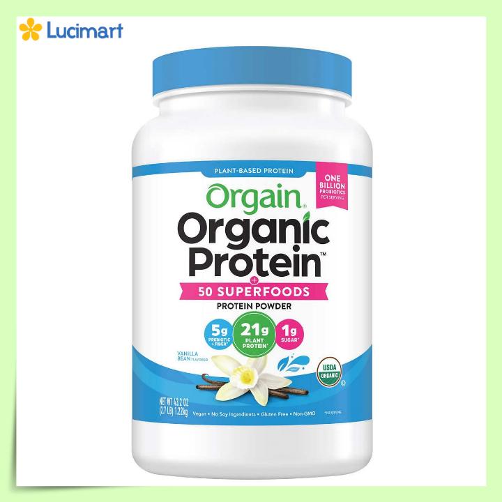 Bột đạm thực vật hữu cơ Orgain Organic Protein Plant Based Protein Powder, hương Vanilla [Hàng Mỹ]
