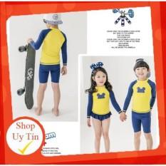 [Lấy mã giảm thêm 30%]Bộ đồ bơi dài tay dành cho bé trai bé gái kèm mũ 2 mảnh quần áo vàng