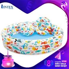 Bộ bể 1m32 + bóng + phao Intex 59469 – Hồ bơi cho bé mini, Bể bơi phao trẻ em, do choi tre em