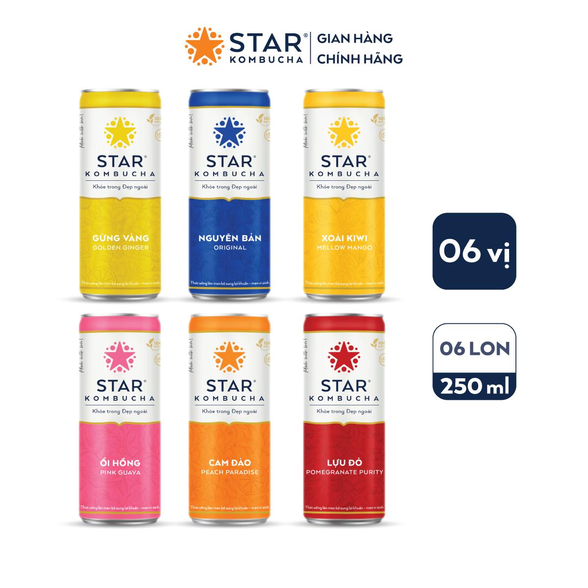 Lốc 6 lon thức uống lên men STAR KOMBUCHA mix vị (250ml/lon)
