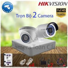 Trọn Bộ 2 Camera 2MP giá rẻ Hikvision DS-2CE16D0T-IRP + DS-2CE56D0T-IRP + DS-7104HGHI-F1 + Tặng áo mưa + 1 Ly nước
