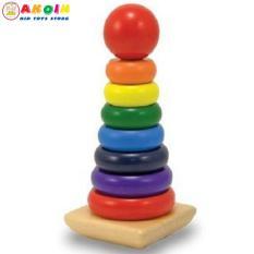 Đồ chơi tháp cầu vồng gỗ size lớn cho bé