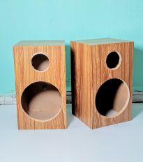 Vỏ thùng loa 10cm vân gỗ nâu. 1 cặp