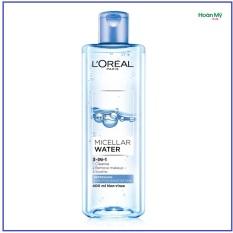 Nước tẩy trang L'Oreal Paris Micellar Water 3 in1 95ml/400ml – Tươi mát ( xanh nhạt)