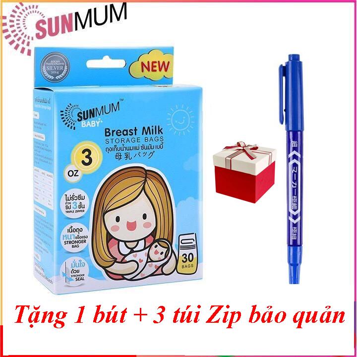 [Tặng bút 01 ghi chú/đơn hàng] Túi trữ sữa Sunmum Thái Lan 250ml, 100ml - 3 lớp khoá zip, Không...