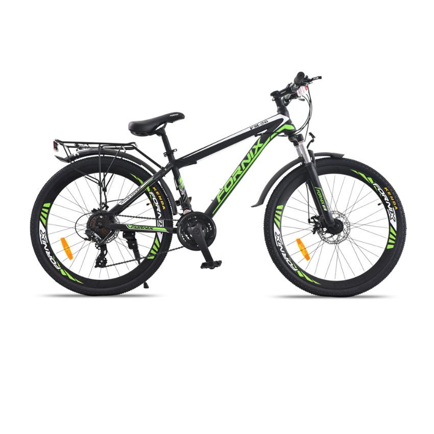 Xe đạp địa hình Fornix FM26, thiết kế kiểu dáng Khí Động Lực Học, Khung Sườn hợp kim thép cao cấp, Trọng Lượng 18.5KG, Vòng Bánh 26inches, màu Xanh Lá – Trắng – Đen