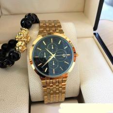 đồng hồ nam baishuns dây mạ vàng,mặt đen,sang trọng