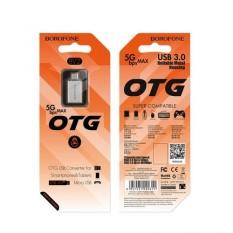 Cáp chuyển OTG, Đầu chuyển borofone BV2 OTG USB sang Micro, Đầu Cáp Chuyển OTG BOROFONE BV2 USB-A Sang Micro USB