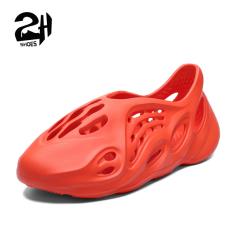 Giày nhựa nam, nữ, đi mưa, đi biển – Chất liệu nhựa xốp siêu nhẹ, không thấm nước – thoáng khi Shoes 2H – Q01 – Màu Đen – Cam – Size 35-44