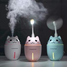 Máy phun sương tạo ẩm cao cấp 3in1 hình con mèo – kết hợp quạt và đèn ngủ